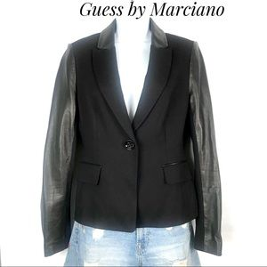 GUESS By Marciano Blazer Mixed Rayon Leather